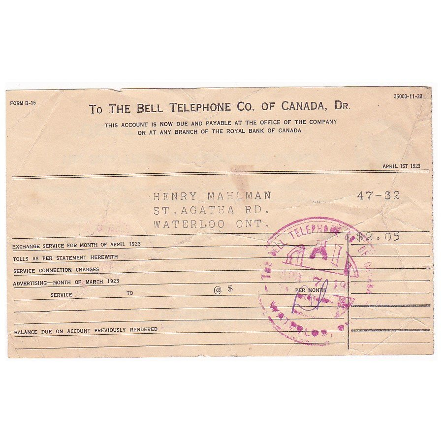 VINTAGE 1923 BELL TELEPHONE COMPANY OF CANADA RECEIPT