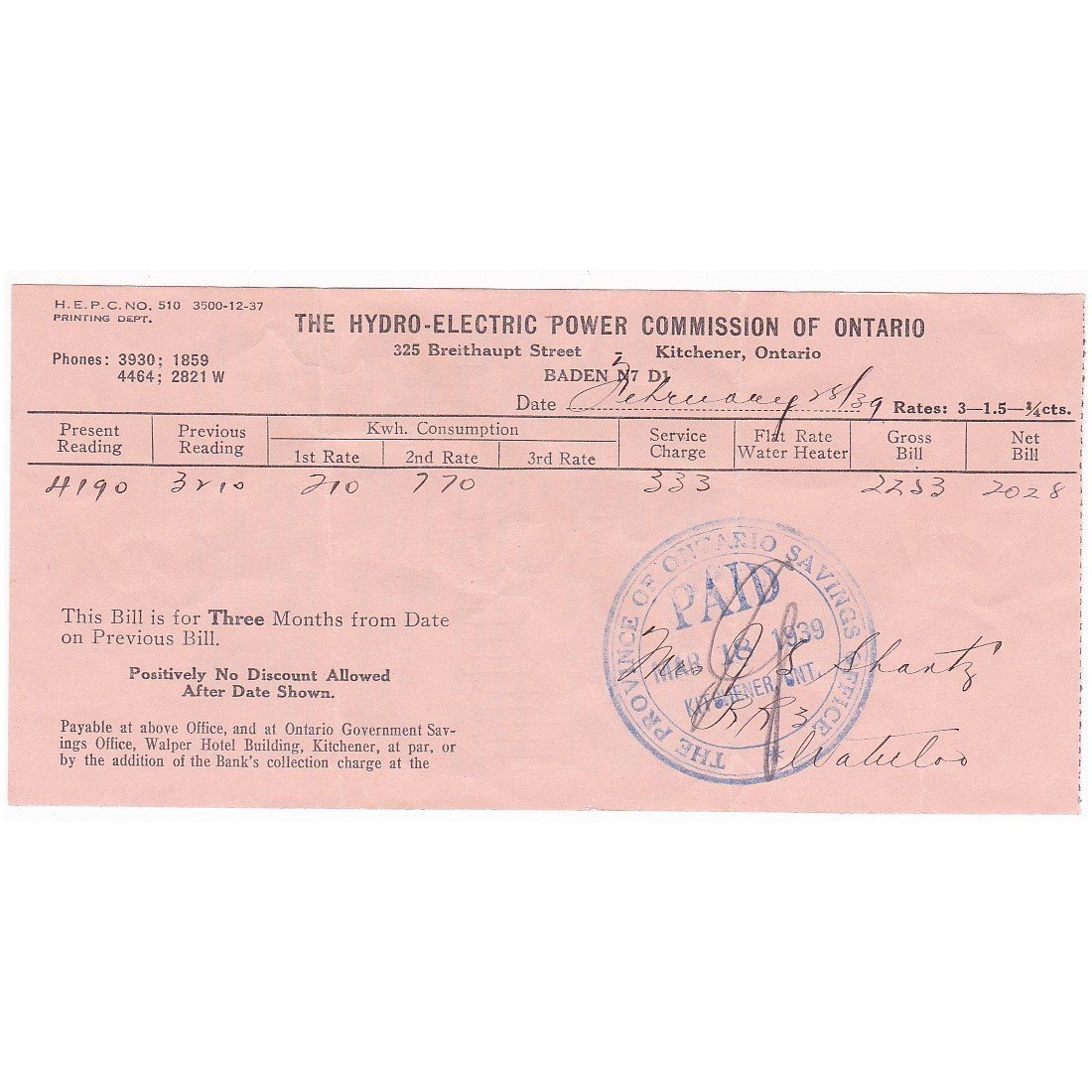 VINTAGE 1939 WW2 HYDRO ELECTRIC COMMISSION OF ONTARIO RECEIPT