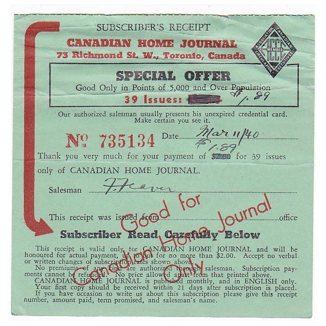 VINTAGE 1940 WW2 CANADIAN HOME JOURNAL SUBSCRIPTION RECEIPT