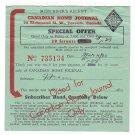 VINTAGE 1940 WW2 CANADIAN HOME JOURNAL SUBSCRIPTION RECEIPT