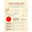Vintage Collectible Canadian National Record Documents