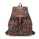 PU Leather Bohemian Vintage Women Backpack Teenage Gilrs School  Drawstring Bag Rucksack