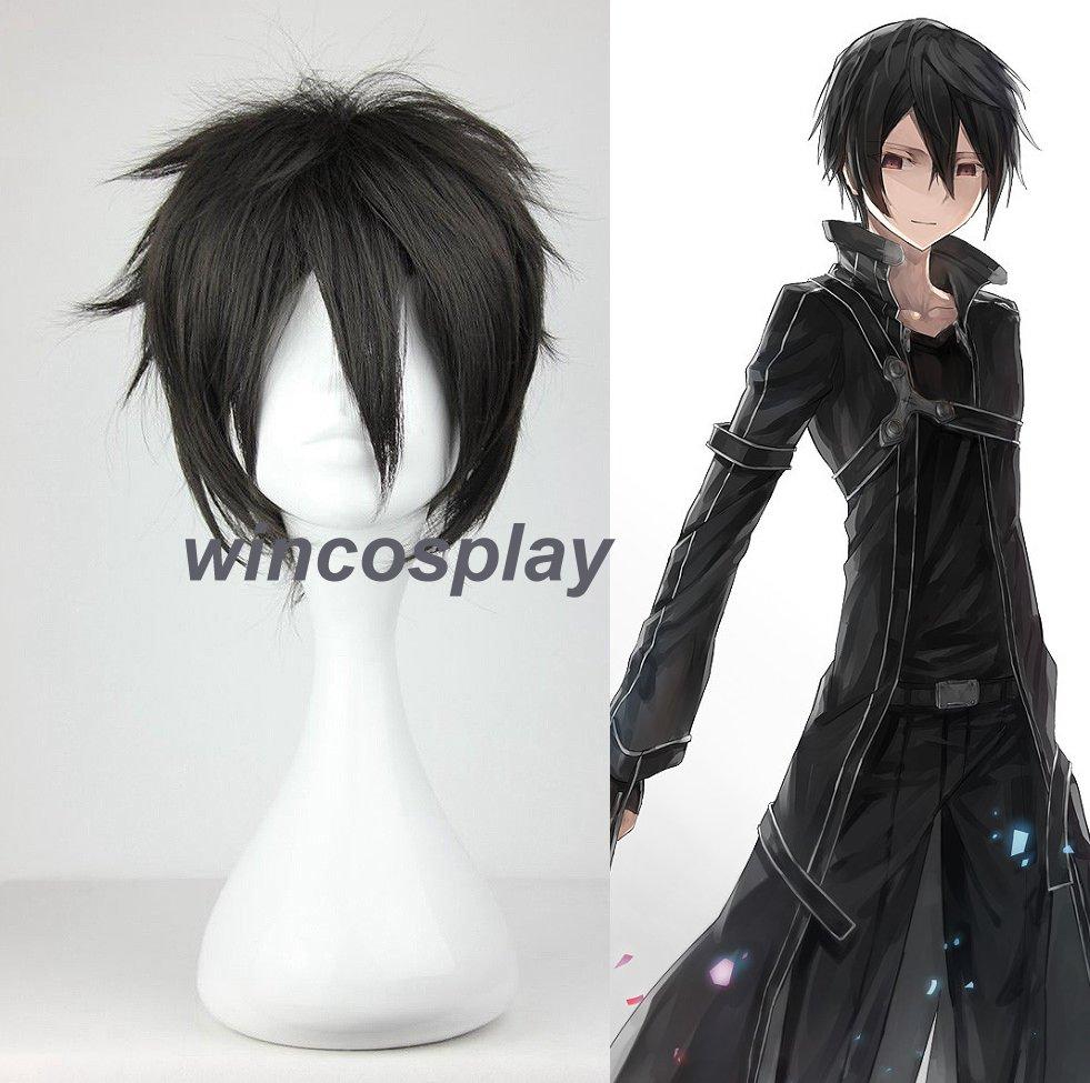 Kirito Cosplay Wig Sword Art Online Kirito Cosplay wig halloween men black wig