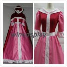 Princess Belle pink cosplay costume Belle pink costume and red cape Beauty and the Beast costume