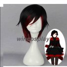 RWBY Ruby Rose Short Black Mixed Red Heat Resistant Anime Cosplay Wig