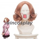 Persona 5 P5 Haru Okumura Noir Cosplay Curly Hair Wig Cap Pink orange
