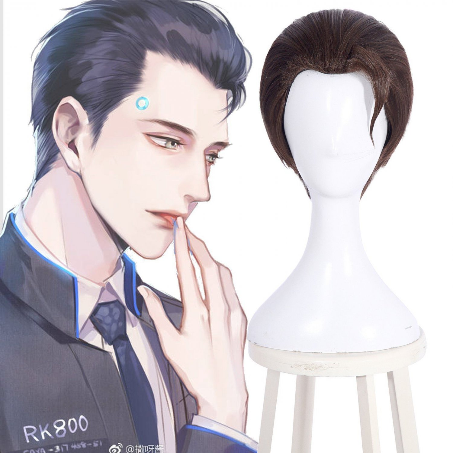 Detroit: Become Connor RK800 Cosplay Wig Short Brown Straight Styled Men's Hair