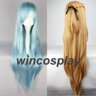 Sword Art Online Sao Asuna Yuuki Yuki Long Blue And Brown Heat Resistant Hair Cosplay Costume Wig