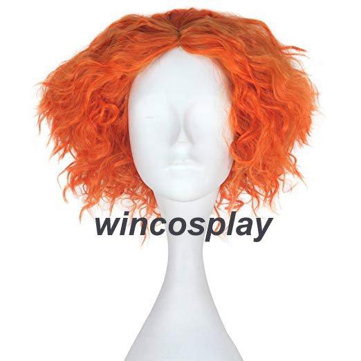 Alice in Wonderland 2 Mad Hatter Tarrant Hightopp Orange Wig Short Curly Hair
