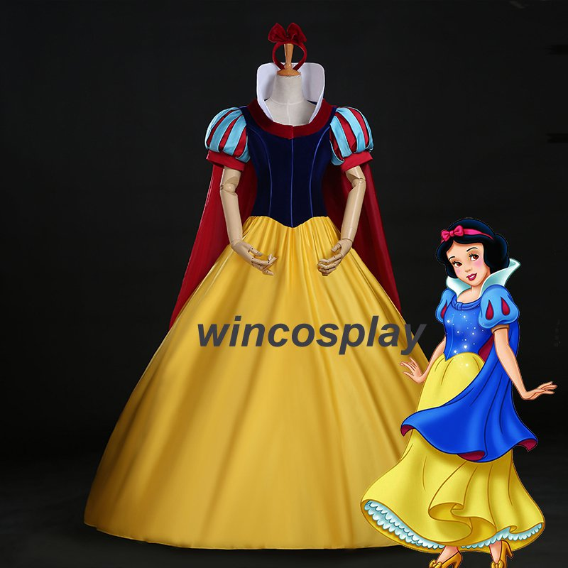 Fairytale Princess Snow White Dress Adult w Petticoat Halloween Cosplay Costume