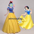 Snow White Adult Costume Princess Cosplay Dress Cloak Halloween Party Ball Gown