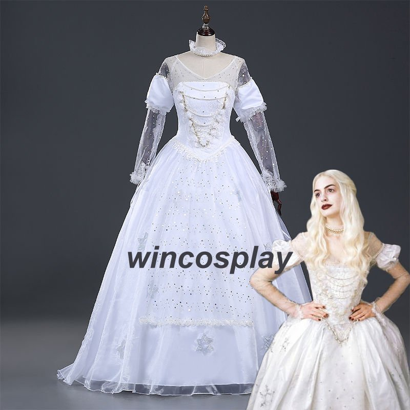 Alice in Wonderland The White Queen Cosplay Costume Dress Halloween princess
