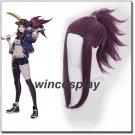 Game LOL K/DA Akali Cosplay wigs LOL KDA Akali Cosplay Costume Purple Synthetic Wig Hair