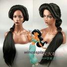 Women Aladdin and the magic lamp Princess Jasmine Black Long wig Braid Role Play costumes