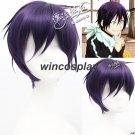 Black Purple Noragami yato short Synthetic Hair Cosplay Costume Wig