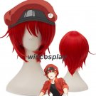 Cells at Work! Erythrocyte Red Blood Cell Short Straight Bob Wig Red Cosplay Wig