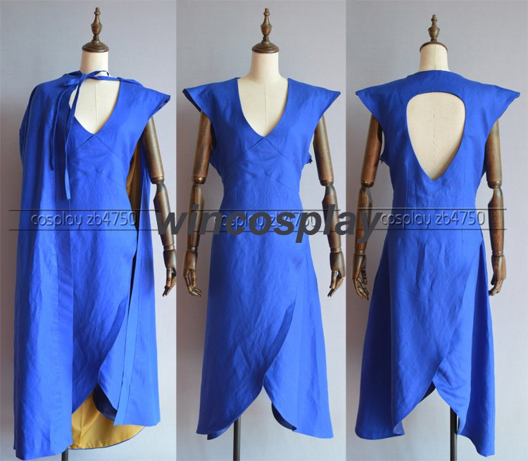 Game of Thrones Daenerys Targaryen Cosplay Costume linen cloth Blue Dress Cloak