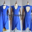 Game of Thrones Daenerys Targaryen Cosplay Costume linen cloth Blue Dress Cloak
