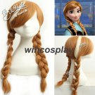 2 Colors Frozen Cosplay princess Anna cosplay wig halloween women Long Braided Cosplay Wigs