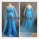 Disney Frozen-- Elsa Cosplay Costume princess dress movie cosplay adult kids size