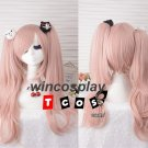Danganronpa Enoshima Junko Pink Cosplay Wig 2 Clip Ponytails with Bear/ Bunny Headwear