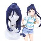 LoveLive!Sunshine!! Aqours Matsuura Kanan Dark Blue with Ponytail Cosplay Wig