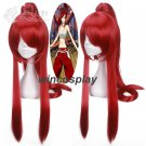 FAIRY TAIL Erza Scarlet 80CM Long Red Cosplay Wig + 1 ponytail +Wig Cap