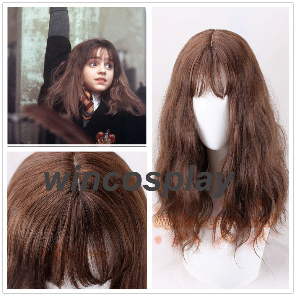 Movie Harry Potter Hermione Jean Granger Brown Wavy Curly Synthetic Hair Cosplay Costume Wigs