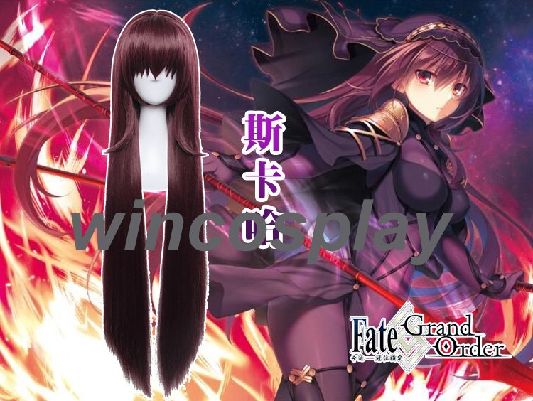 Anime Fate/Grand Order Scathach Purple Cosplay Wig Long Straight Synthetic Hair Cosplay Wig