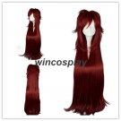 Black Butler Kuroshitsuji Grell Sutcliff Wine Red Long Curly Hair Cosplay Wigs