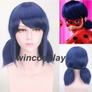 Miraculous Ladybug Wigs Peluca Marinette Girls Cosplay Double Ponytail Braidswig