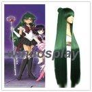 2 Colors Anime Sailor Moon Sailor Pluto Meiou Setsuna Straight Green Cosplay Wig