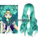 Sailor Moon Neptune Harajuku Blue Green Long Wave Hair Cosplay Wigs