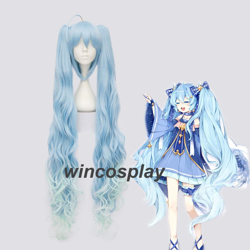 Vocaloid Hatsune Miku Show Ponytails Anime Cosplay Wig 120cm Perücke Karneval