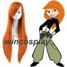 Kim Possible Futaba Sakura Orange Long Straight Cosplay Wig Women Anime Hair