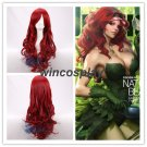 BATMAN Poison Ivy Curly Long Wine Red Modeling Style Anime Cosplay Wig