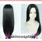 The Dragon Prince Claudia Wig Cos Prop 75cm Long Straight Black Ombre Purple wig