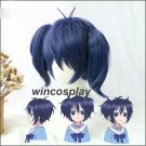 Happy Sugar Life Kobe Shio Cosplay Wig Dark Blue Short Clip On 2 Ponytails Hair