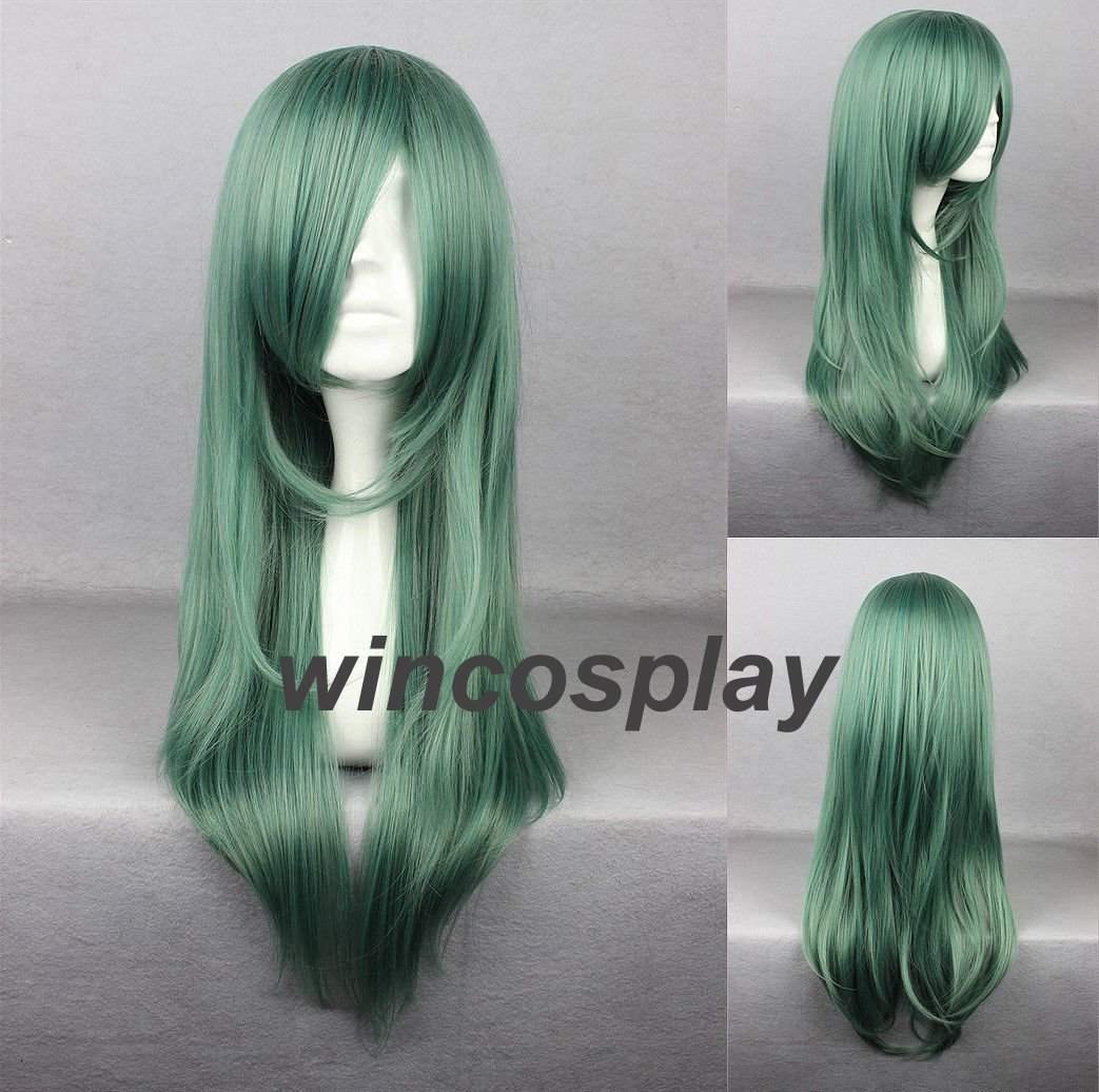 KAGEROU PROJECT Kido Tsubomi Long Straight Dark Green Heat Resistant Cosplay Wig