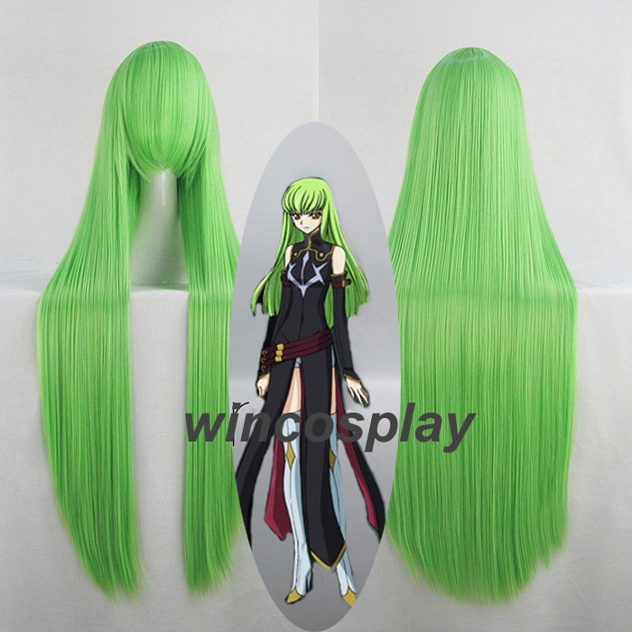 "Code Geass C.C CC Empress 100cm 39"" Green Long Straight Anime Cosplay Wig"