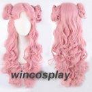 Code Geass Euphemia pink Long Curly Cosplay Wig Buns hair