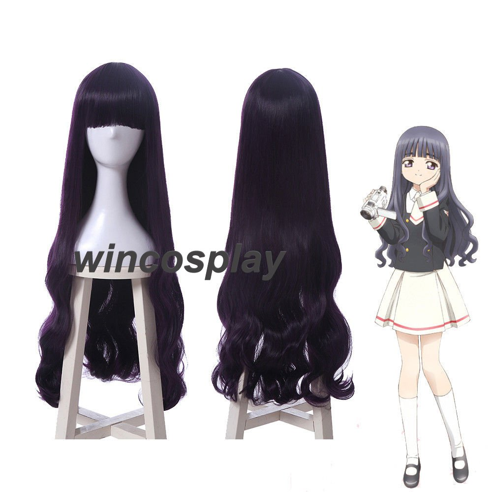 Card Captor Sakura Tomoyo Daidouji Long Wave Wavy Purple Cosplay Wig Party Wigs