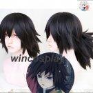 Anime Demon Slayer Kimetsu no Yaiba Tomioka Giyuu Cosplay Black Ponytai Hair Wig
