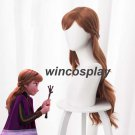 2019 New Anime Princess Anna Cosplay Wig 70cm Long Curly WavyHair Brown wig
