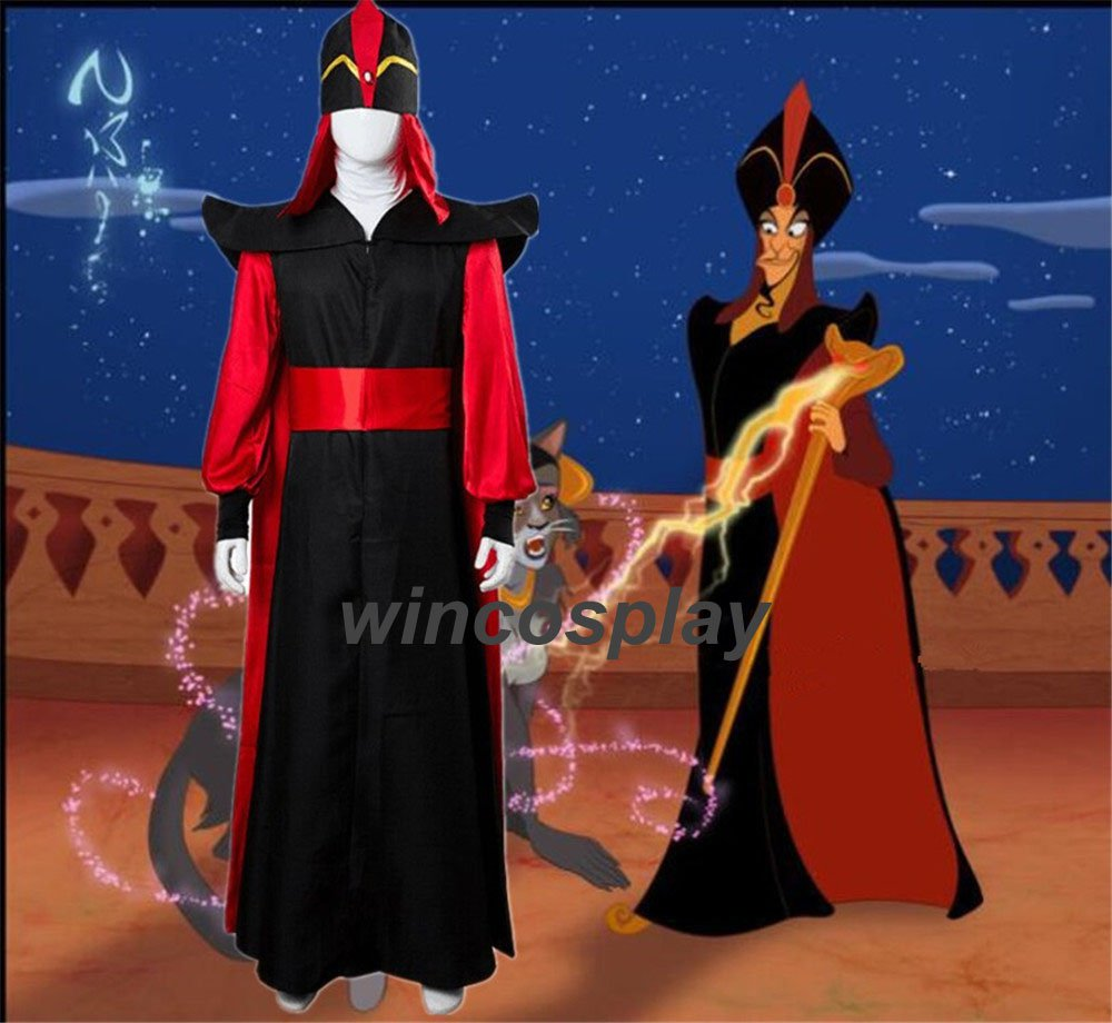 Aladdin The Return of Jafar Cosplay Robe Cloak Cape Hat Wizard Outfit Costume