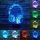 Novelty Colorful DJ Headphone Shape 3D Night Light Illusion Lamp Earphone Lighting Home Decor