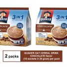(2 packs) QUAKER OAT CEREAL DRINK 3-IN-1 CHOCOLATE (15 sachets X 28 gram)