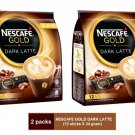 (2 packs) NESCAFE GOLD DARK LATTE PREMIX COFFEE (12 sticks X 34 gram)