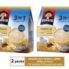 (2 packs) QUAKER OAT CEREAL DRINK 3-IN-1 VANILLA (15 sachets X 28 gram)