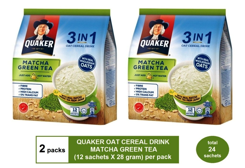 [2 packs] QUAKER OAT CEREAL DRINK 3-IN-1 MATCHA GREEN TEA flavor